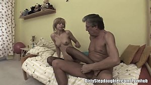 Willowy light-haired adolescent Stepdaughter mates Old Stepfather