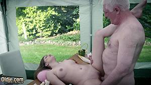 Appealing early actress pays grand-dad in nbeastiality role playure at the yard sale