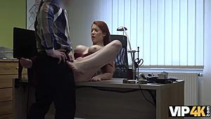 VIP4K. busty ginger is used forceful animalistic sex try-out performed by agent
